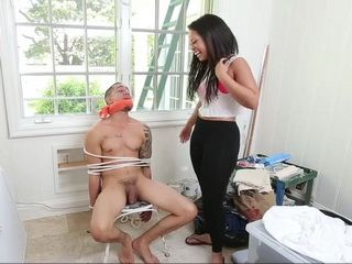Stepsister Find Her Brother Tied By His Girlfriend And Tortured Him A Little Bit