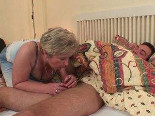 Mature Mother In Law Use The Chance When Her Son In Law Was Sleeping To Get His Young Cock