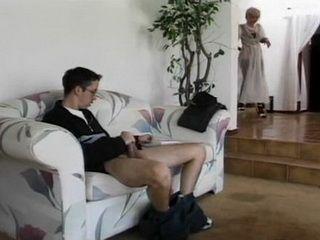 Amazed Stepmom Busted Careless Teenage Stepson Masturbating In The Living Room