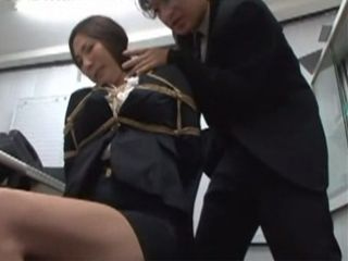 Busted In Masturbation In Office Secretary Was Punished And Tied Up By Her Strick Boss