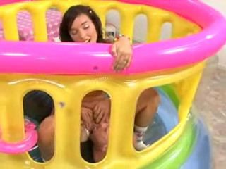 Horny Guy Busted Teen Girl Playing In Rubber Playroom So He Gave Her His Toy