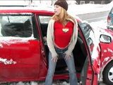 Trapped In Traffic Cos Of Big Snow Drift Little Slut Has A Little Fun In Her Car