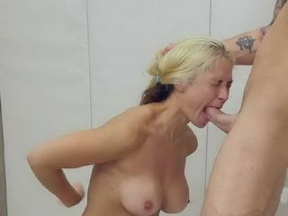 Blonde Girl Giving Amazing Blowjob And Rimjob To These Boys