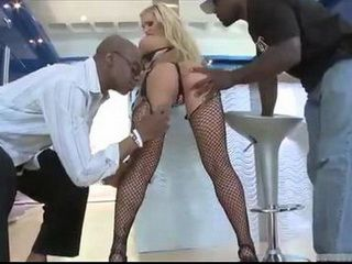 Blonde Gets Stretched To Extreme By Two Black Cocks