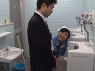 Toilet Cleaner Hitomi Endobio Sucks Off Strangers Cock