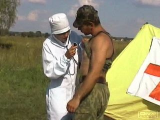 Military Nurse Gets Brutally Fucked By Dirty Soldier In Open Field