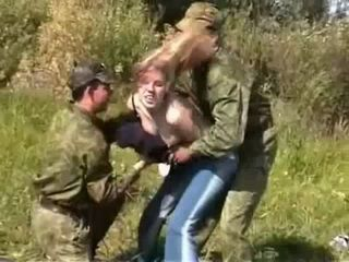 Cruel Army Guys Attacked And Brutalized Poor Civilian Blonde Outdoor