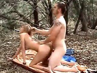 Wife slut gets creampie in the woods