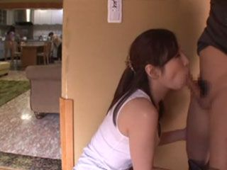 Cleaning Lady Aki Sasaki Sucks Off Bosses Cock While His Wife Was In Next Room To Get Extra Money