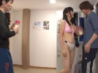2 Lucky Guys Surprised With Blowjob In The Gym By Pilates InstructorSayaka Yamada