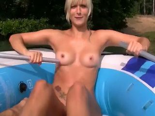Outdoor Sex with a Beautiful Blonde at the Middle of the Lake