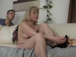 Naughty Stepson Spying His Mature Stepmom Behind The Sofa