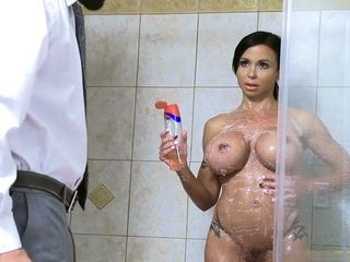 Lucky Guy Got Life Time Opportunity To Fuck Gfs Gorgeous MILF Mom With Awesome Boobs Under The Shower