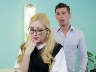 Spectacled Blonde Girl Did Not Know That He Can Confort Her Only With His Big Cock