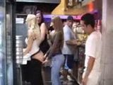Crazy Teen Girls Taking Their Clothes Off In Fast Food While Other People Watching