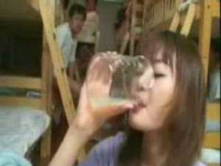 Japanese Teen Girl Drinking Spermshake In Dormroom