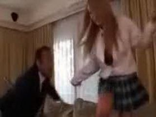 Angry Daddy Caught Teen Girl And Fucked Her On The Table