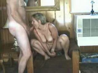 Mature Lady Dildoing Pussy While Sucking Husbands Cock
