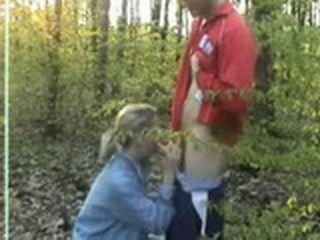 Cute Teen Couple Likes Oral In Woods