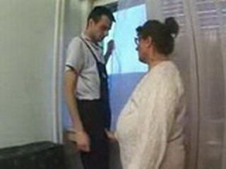 Granny Abused Repairman In Her Apartment