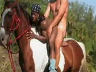 Huge Black Builder Girl with Enormous Clit Fucked On The Horse