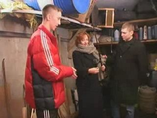Russian Mom Doing Blowjob To Two Teen Guys In Basement