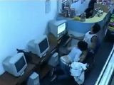 Couple Fucks In The Internet Cafe While Worker Girl Is Couple of Feets Away From Them Surveillance Cam
