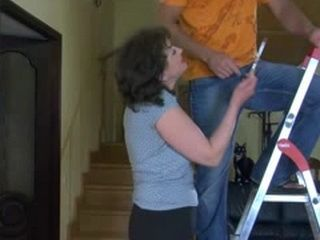 Russian Mature Is Trying To Get Repairman Attention