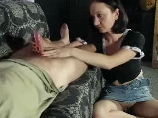 Classic Handjob from Cute Desperate Girlfriend Without Panties