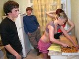 Teenagers Home Party Starts With Pizza But It End With Fuck