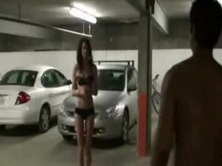 Skinny Brunette Teen Gets Pounded From Black Guy In Underground Garage
