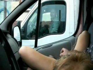 Crazy Woman Dildoing Pussy In Car While Is Waiting Traffic Light