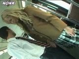 Blonde Schoolgirl Handjob In Bus