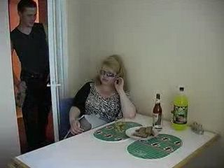 Fat Blond Saggy Tits Woman Fucks Some Skinny Guy At Her Kitchen Table