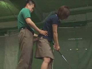 Immodest Golf Instructor Gets His Cock Out Of His Pants While Giving Lessons To The Girl