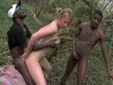 Two Potent Africans Fuck Good Looking France Girl In The Woods