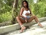 African Babe Flashing Her Young Pussy Outdoor