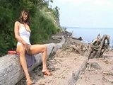 Hot MILF Masturbates and Squirts on a Public Beach