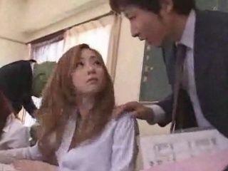 Busty Young Asian Schoolgirl and Boyfriend Fuck in the School Bathroom