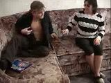 Granny Fucked Young Man On The Sofa in Living Room