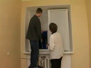 Granny Invited her Sons Friend to Help her with Curtains