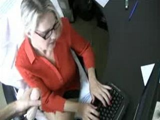 Secretary is Writing a Letter on Computer While Boss Explodes Buckets of Cum all Over her Hot Face