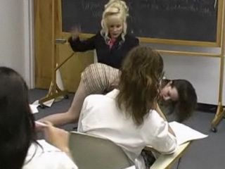 Cute Girl Spanked by Her Female Teacher in Classroom