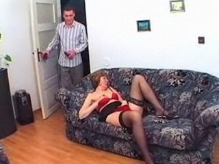 Horny Old Granny In Stockings Loves  a Good Young Man to Fuck