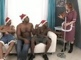 Granny is Fucked by Three Black Santa Claus Guys