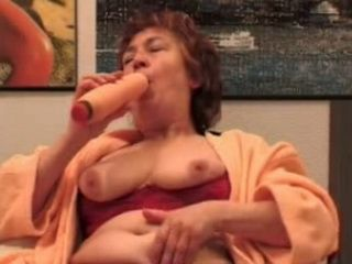 Saggy Tits Granny Dildoing Her Old Pussy Before Younger Guy fucked Her