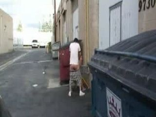 Girl Fucked Beside Bins in an Alley