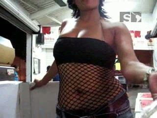 Mexican Girl Morena Flashing Boobs and Ass In Public