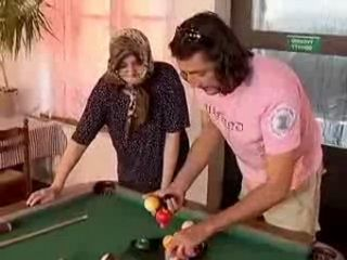 Younger Man Fucked Hiab Granny on Billiard Table