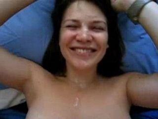 Amateur Teenie Facial Cumshot on Blue Bed
